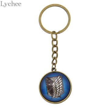 Cool Attack on Titan Lychee Trendy  Key Chains Wings Of Liberty Gem Keychains Crafts Unisex Keyring For Men Women Gifts AT_90_11