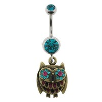 Stainless Steel Belly Ring with Aqua CZ - Multicolored, Dangling Brass Owl