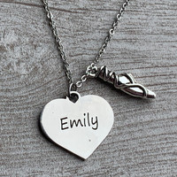 Personalized Engraved Ballet Slipper Necklace