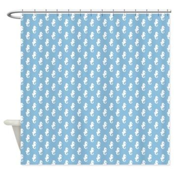 Sky Blue Seahorse Pattern Shower Curtain> Shower Curtains> Heartlocked