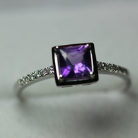 20% OFF Princess Cut,Natural Amethyst Ring,Sterling Ring, purple gemstone, February Birthstone,Promise Ring,