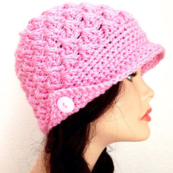 Womens Crochet Peaked Hat/ Newsboy Style Beanie/ Valentines Gift Hat