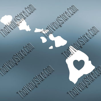 Hawaii Heart Home Decal | I Love Hawaii Decal | Homestate Decals | Love Sticker | Love Decal  | Car Decal | Car Stickers | 470