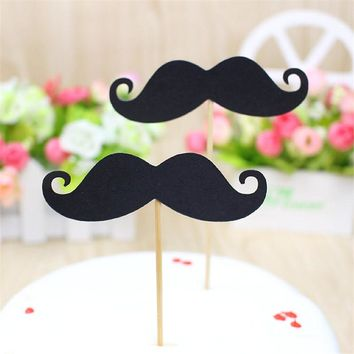 10pcs Mustache cupcake toppers inserts cards food picks wedding baby bridal shower Cake Accessories decorations