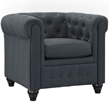 Chesterfield Fabric Armchair in Gray
