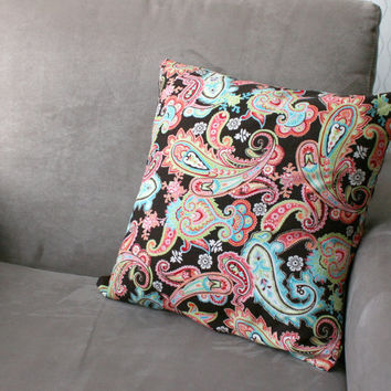 paisley daze - paisley pillow cover, cushion cover, throw pillow, decorative pillow with paisley print, 16 inches (40.6 cm) square