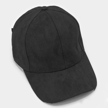 Black Faux Suede Baseball Cap With Velcro Closure, One Size Fits All, Unisex Gift Idea