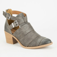 Qupid Tobin Womens Booties Grey  In Sizes