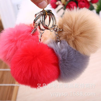[flash Cute Genuine Leather Rabbit fur ball plush key chain for car key ring Bag Pendant car keychain = 5988014273