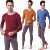 Men's Natural Colored Cotton Thermal Underwear Velvet Thicken Round Neck Set DGG