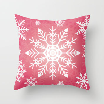 Snowflakes Rubine Red And White Throw Pillow by Kathleen Wong