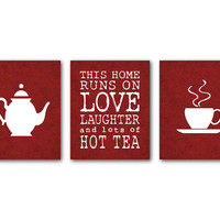 Kitchen Wall Art Set of Three Prints - For tea lovers - This house runs on love laughter and lots of hot tea - tea pot tea cup silhouette