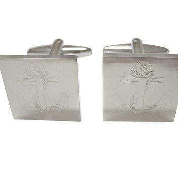 Silver Toned Etched Nautical Roped Anchor Cufflinks