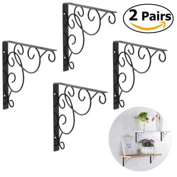 WINOMO 4pcs Wall Mounted Floral Style Shelf Brackets for Bookrack / Calpboard / Set Top Box