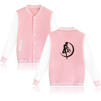Sailor Moon Baseball Jackets Women/Men Harajuku Sweatshirt Anime Winter Hoodies Women Jackets Clothes cotton Jackets Coat Tops