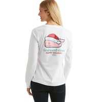 Long-Sleeve Santa Hat Whale 2016 Pocket Tee