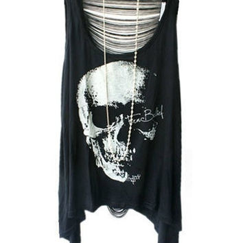 Punk Style Skeleton Print T-shirts with Sexy Fringe Back = 1932911876