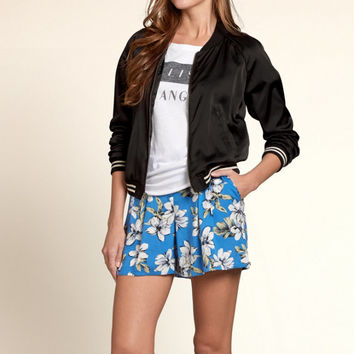 Harbor Cove Satin Bomber Jacket