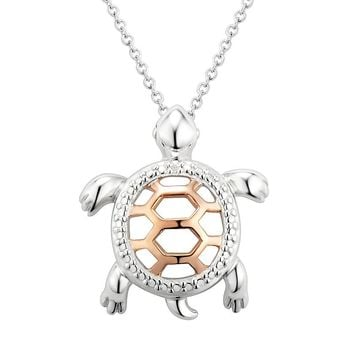 Two Hearts Forever One Sterling Silver Two Tone Turtle Pendant Necklace (White)