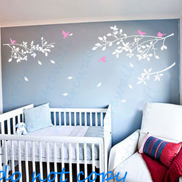 Vinyl wall decal tree decal birds decal Kids wall art baby nursery kids  white decal girl wall decor wall art- tree branch with birds