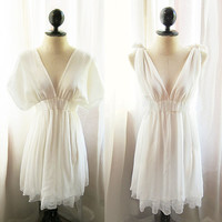 Dreamy White Kimono Grecian Dress Romantic Pale by RiverOfRomansk