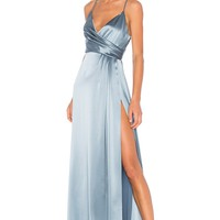 JILL JILL STUART Wrap Gown in Dusty Blue | REVOLVE