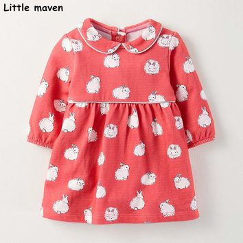 Little maven kids brand clothes 2017 autumn new baby girls clothes Cotton bunny print girl button dresses S0260