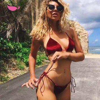 Sexy Women Pure Color Pleuche Halter Bottom Side Knot Two Piece Bikini Swimsuit Bathing Red