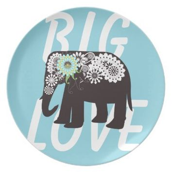 Paisley Elephant Cute Party / Dinner Plates: Big Love: Wild Animal Girly Design Dishes