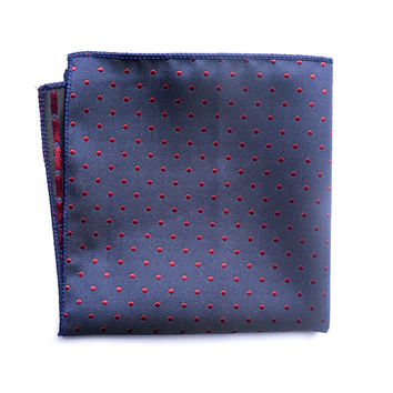Navy and Red Dotted pocket square