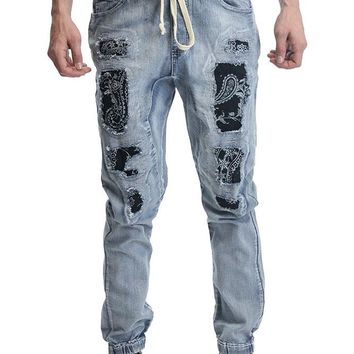 Paisley Distressed Denim Jogger Pants JG866 - F14F