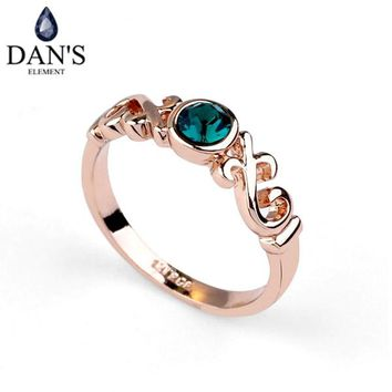 DAN'S ELEMENT New Sale Rose Gold Color Genuine Austrian Crystal Rings For Women Valentine's Gift Anti Allergies  Fi-RA11876green