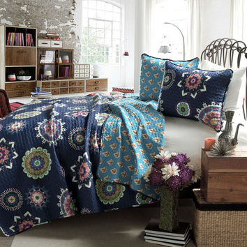 King Navy Blue Paisley Geometric 100% Cotton 3 Piece Quilt Coverlet Bedspread Set