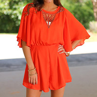 Beaded Out Romper, Tomato