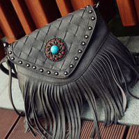 Gray Front Weave Rivet Tassel Shoulder Bag
