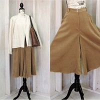 Vintage riding skirt / size XL 16 / 18 / 80s Western split skirt / palazzo / wide leg / high waisted / faux leather / gaucho pants / Scully