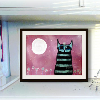 King Kitty under a full moon -  christmas cat decor - orig. illustration on paper - Acrylic paint & watercolor -  unique gifts - pet lovers
