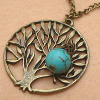 Tree and Turquoise Necklace by turquoisecity on Etsy