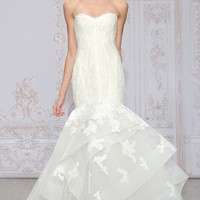 Monique Lhuillier 'Saffron' Strapless Lace & Organza Mermaid Gown (In Stores Only) | Nordstrom