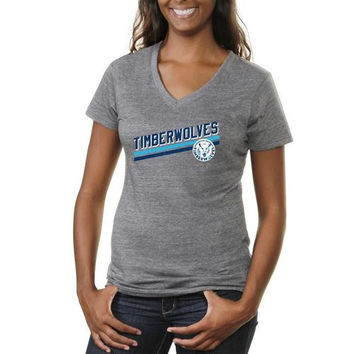 Northwood University of Michigan Timberwolves Ladies Rising Bar Tri-Blend V-Neck T-Shirt - Ash