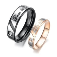 "Stainless Steel Cz Gem 18k Plated ""True Love"" Engraved Couple Rings Set for Engagement, Promise, Eternity R010 (His Size 7,8,9,10; Her Size 5,6,7,8). Please Email Sizes:Amazon:Jewelry"