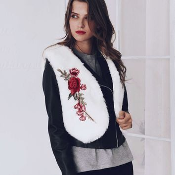Fashion embroidery Floral imitation fur High waist Vest Faux Fox fur Vest Rose embroideried Sleeveless Waistcoat Tank Tops