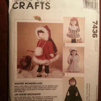 "Uncut 1995 McCall's Sewing Pattern, 7436! Winter Wonderland Doll Clothing/Hooded Cape Dress/Bonnet/Ice Skating Outfit/18"" Dolls/Night Gown"