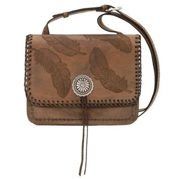 DCCKAB3 Sacred Bird Multi-Compartment Crossbody Flap Bag - Distressed Charcoal Brown