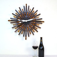 "Wine Barrel Wall Art -""Radiant Clock"" - Limited Edition -100% recycled Napa barrels"