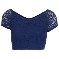 Lace Bardot Crop Top - Jersey Tops - Clothing - Topshop