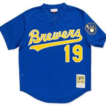 DCCKFC9 Mitchell & Ness Robin Yount 1991 Authentic Mesh BP Jersey Milwaukee Brewers
