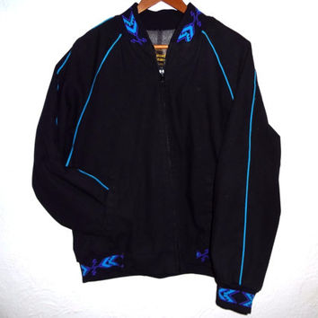 Vintage 90s Native American Style Lined Bomber Jacket - Large - Navajo - Mojave - Turquoise and Purple Trim - Southwest -