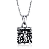 Stainless Steel Cylinder Urn Pendant Necklace for Memories Humans Cremation Ashes,Free Chain 22 inches