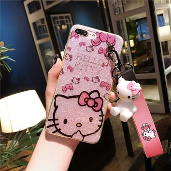 b34cd1c29 For iPhone 8 8plus Kitty Case, bling Hello Kitty Cover for iPhon